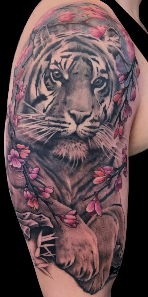 FAMILY ART TATTOO NICKLAS WESTIN – TIGER FLOWERS – JAPONES