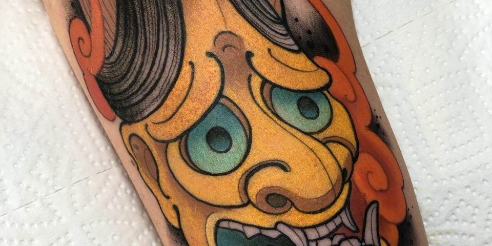 Tatuador Mosh del Estudio Family Art Ttttoo Barcelona Hannya full color